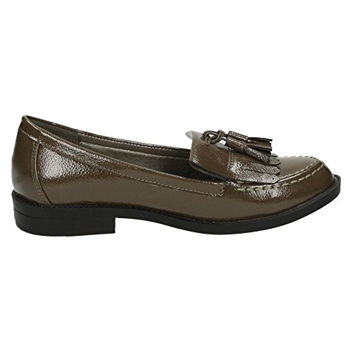 Spot On ,  Damen Durchgängies Plateau Sandalen mit Keilabsatz Khaki Crinkle Patent