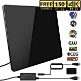 [2019 Newest] HDTV Antenna,Indoor Digital TV Antenna Amplified 150 Miles Range Support 4K 1080P HD VHF UHF & Older TV's Digital Antenna with Amplifier Signal Booster,17ft Coax Cable/USB Power Adapter