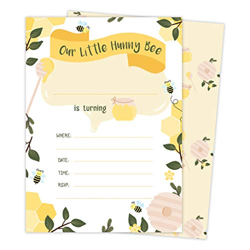 Bumble Bee 3 Happy Birthday Invitations Invite Cards (25 Count) With Envelopes and Seal Stickers Vinyl Boys Girls Kids Party (25ct) -