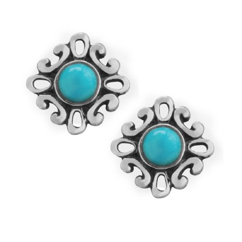 American West Sterling Silver Sleeping Beauty Turquoise Petite Filigree Stud Earrings