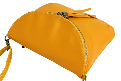 Senf bag shoulder bag AMBRA Bag womens Leather small Moda bag leather Italian NL609 Cross body Gelb smooth xUTBqZw