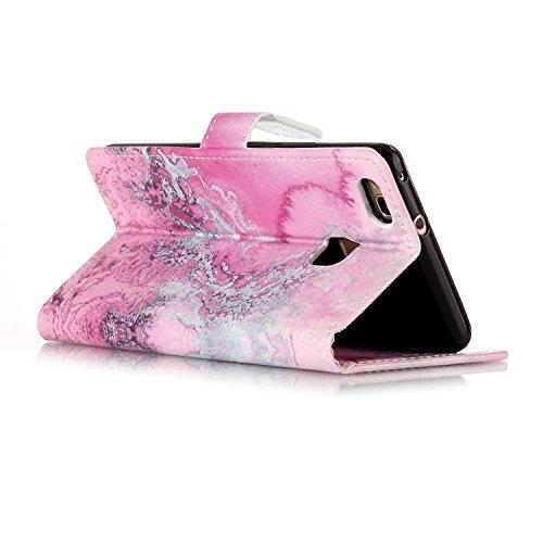Funda Huawei P9 lite,SainCat Funda de cuero sintético tipo billetera con de Suave PU Carcasa Con Tapa y Cartera, Elegante Estuche Caja,Pintado en relieve árbol Cuero de la PU Leather Cubierta Plegable Agua de mar rosa
