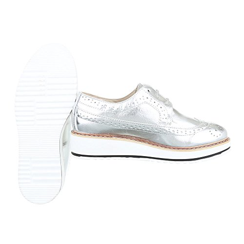 Ital-Design Women's Lace-up Flats Silber ihzTU