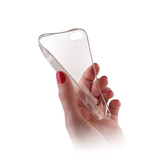 handy-point Ultra Dünn 0,3 mm Schutzhülle Gummihülle Gummi Silikon Silkonhülle Schale Hülle für iPhone SE, 5, 5S, Glasklar, Transparent