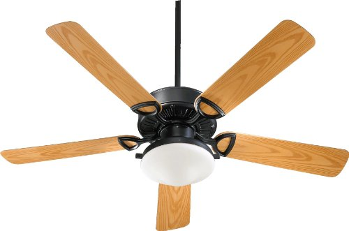 Quorum International 143525-959 Estate 2-Light Patio Ceiling Fan with Satin Opal Glass Light Kit and Medium Oak ABS Blades, 52-Inch, Matte Black Finish