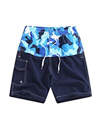 QRANSS Boys Swim Trunks Elastic Waistband Beach Shorts with Drawstring