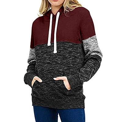 WUAI-Women Active Color Block Long Sleeve Fleece Pullover Hoodie Sweatshirts with Kangaroo Pocket: Clothing