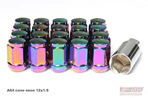 NEON CHROME WHEEL LOCK LUG NUTS 12X1.5 ACORN ACORN CONE 20pcs with KEY FITS LEXUS IS250 CONE NEON CHROME 12x1.5 A64
