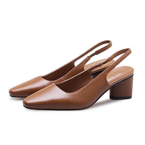 Baotou Tacón Zapatos Alto Cabeza Altos Mujer VIVIOO De Brown De Sandalias De Sandalias Salvajes Gruesa Tacones Mujer Cuadrado Shoessandals De Verano De Alto Con Tacón RgwqX