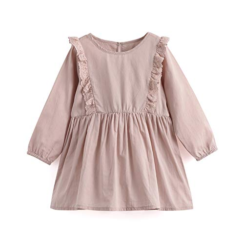 Aimama Toddler Girls Dress Spring Long Sleeve Lace Dress Frilled Play Dress Pink