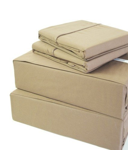 300 Thread Count 100% Egyptian Cotton Solid Beige Full XL 21 Deep Pocket Sheet Set by Splendid by Splendid