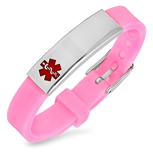 Free Engraving - Rubber Medical Alert ID Bracelets Pink for Women and Girls