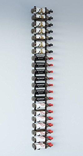 - VintageView WS72 7-Foot 42 Bottle Metal Wall Mounted Wine Rack in Satin Black (2 Rows Deep)