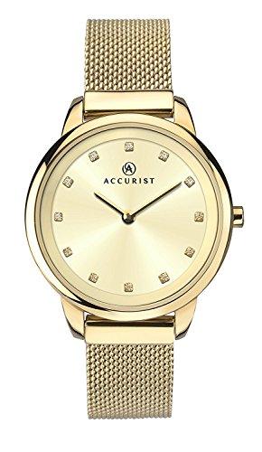 Accurist Womens Stainless Steel Japanese Quartz Watch With Milanese Mesh Bracelet, Stone Set Dial, Splash Resistant…