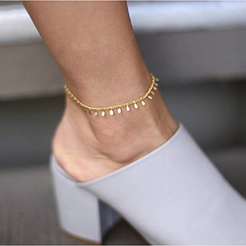 - Yalice Dainty Anklets Dangle Ankle Bracelet Beach Foot Jewelry for Women and Girls (Gold)