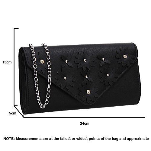 Party Clutch Evening Prom Night Wedding Envelope Ladies SWANKYSWANS Floral Out Purse Celebrity Bag Black Harley Cx7tqwTp