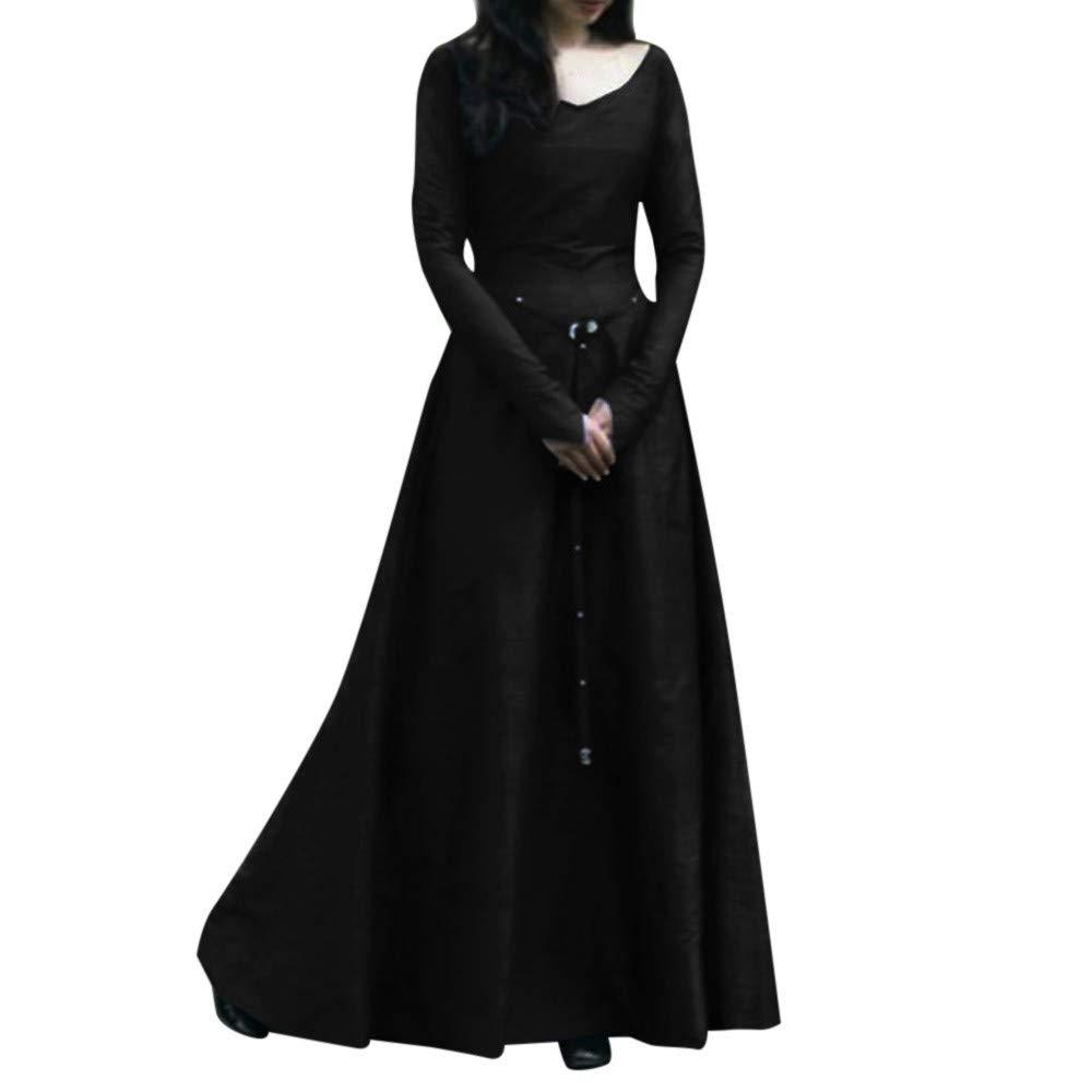 Longra Damen Vintage Mittelalter Renaissance Kleid Cosplay Kostüm Langarm Prinzessin Gothic Kleid Übergröße Kleid für Weihnachten Karneval Party Festlich Kleid Abendkleid Ccocktail