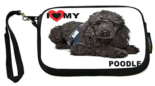 UKBK I Love My Black Poodle Dog Neoprene Clutch Wristlet with Safety Closure - Ideal case for Camera, Universal Cell Phone Case (Round Dog Clutch)