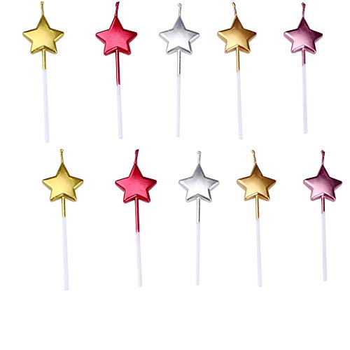 (GKanMore 10 Count Metallic Cake Candles Multi-Color Star Cake Candle Topper with Holder for Wedding Party Birthday Cake Decoration (Star Shape))
