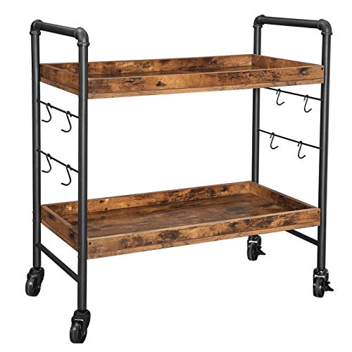 VASAGLE URBENCE Kitchen Serving Cart , Universal Casters with Brakes, Leveling Feet, Hooks, Iron Structure, Kitchen Shelf, 33.9 x 15.7 x 33.5 Inches, Rustic Brown ULRC85BX