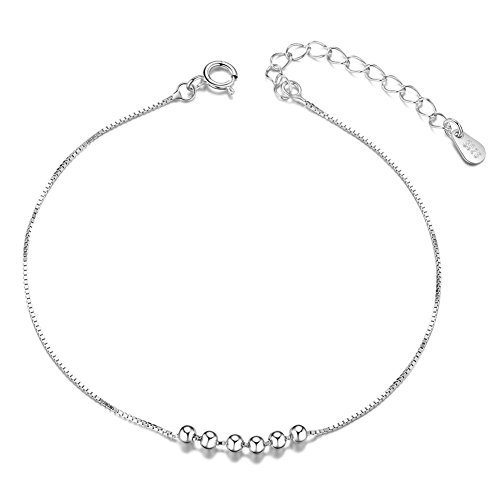 (SHEGRACE Six Small Beads Charm Anklet Bracelet, 925 Sterling Silver Anklet for Woman (Platinum))