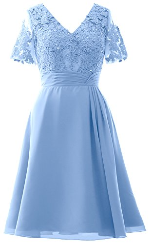 of Women Sleeves Midi Blue Short Party MACloth Dress The Wedding Bride Mother Dress Sky apwRBnwqWx