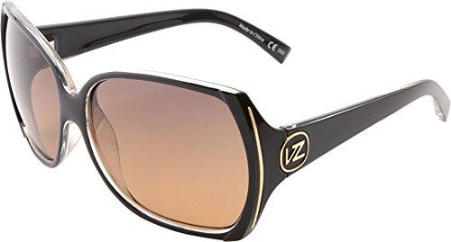 VonZipper Trudie Square Sunglasses,Black & Crystal,One - Womens Von Sunglasses Zipper