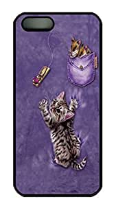 Covers Trapped Kitten Custom PC Hard Case Cover for iPhone 5/5S Black