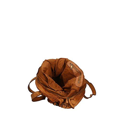 en cuir in bandoulière Aren Italy Made véritable à Bronzage Cm 40x34x16 Sac femme TIp4Bq