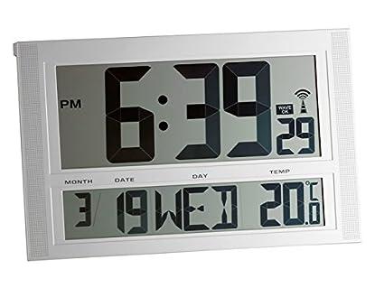 TFA 98.1090 Reloj Digital Mural Plata con termómetro tamaño XXL