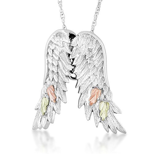 Diamond-Cut Angel Wings Pendant Necklace, Sterling Silver, 12k Pink and Green Leaf Black Hills Gold, 18