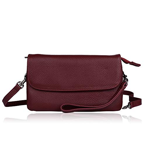 Befen Womens Leather Wristlet Clutch Crossbody Cell Phone Wallet, Mini Cross Body Bag with Shoulder Strap/Wrist Strap/Card Slots for iPhone 6S Plus/Samsung Note 5 - Burgundy