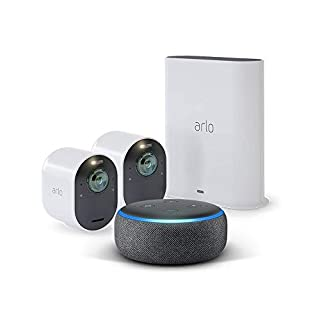 Arlo Ultra - 4K UHD Wire-Free Security 2 Camera System | Indoor/Outdoor Security Cameras with Echo Dot 3rd Gen (Charcoal Gray)