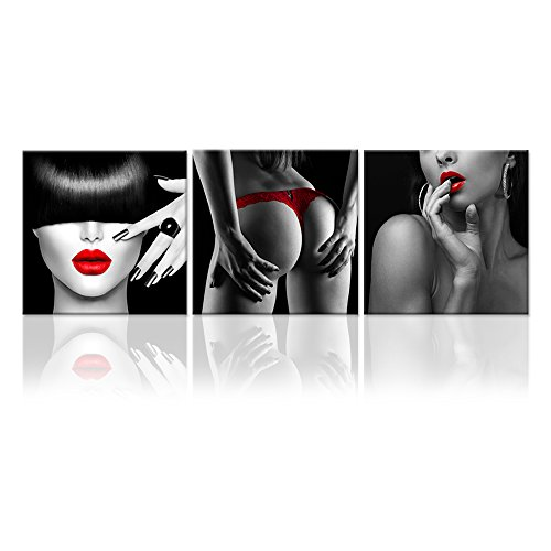 Hello Artwork   Black And White Sexy Nude Woman Lady Canvas Prints Red Sexy Lips And Nails Naked Girl Body The Picture Print On Canvas Framed And Stretched For Bedroom Wall Decor  12X12inchx3pcs