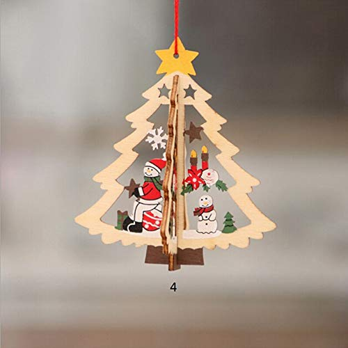 Party Diy Decorations - 1pc 3d Wooden Christmas Tree Ornaments Pendant Hanging Xmas Home Party Decor Pendants Multistyle - Decorations Party Party Decorations Wood Blank Decor Star -