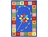 Joy Carpets Kid Essentials Early Childhood Alphabet Pinwheel Rug, Multicolored, 7'8'' x 10'9''