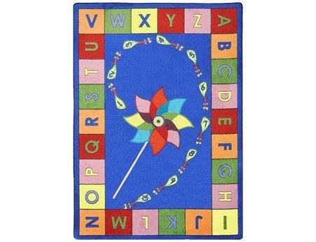 Joy Carpets Kid Essentials Early Childhood Alphabet Pinwheel Rug, Multicolored, 7'8'' x 10'9'' by Joy Carpets