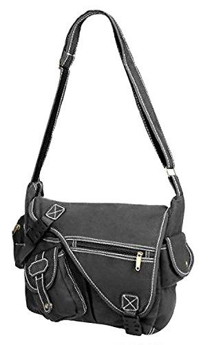 Pocket 3 Multi Messenger Canvas Vintage Body Urban Bag Shoulder Cross Black Design qEtwv