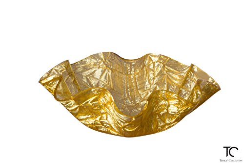 """Tehila Collection Lucite Serving Bowl Small Gold """"Textured Crumple"""" Pattern."""