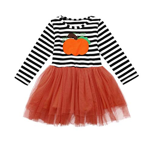 Baby Girl Auntie Clothes Baby boy Woodland Clothes Slipknot Baby Clothes Kids Baby Girls Pumpkin Striped Print Long Sleeve Halloween Dress+Headbands Set Cute Kids Clothes Frocks and Gowns for Baby g