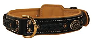 Dean and Tyler DEAN'S LEGEND, Dog Collar with Brown Padding and Brass Hardware, Black, Size 26-Inch by 1-1/2-Inch, Fits Neck 24-Inch to 28-Inch