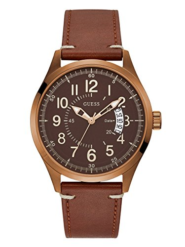GUESS Men's Quartz Stainless Steel and Leather Casual WatchColor Brown (Model: - Watch Wrist Guess