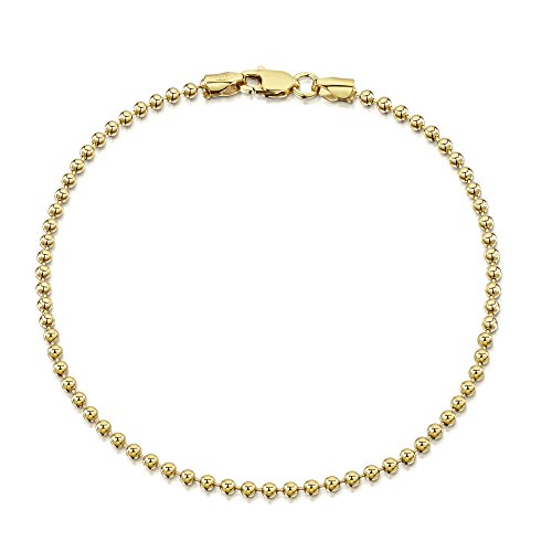 Amberta 18K Gold Plated on 925 Sterling Silver 2 mm Ball Chain Bracelet Length 7