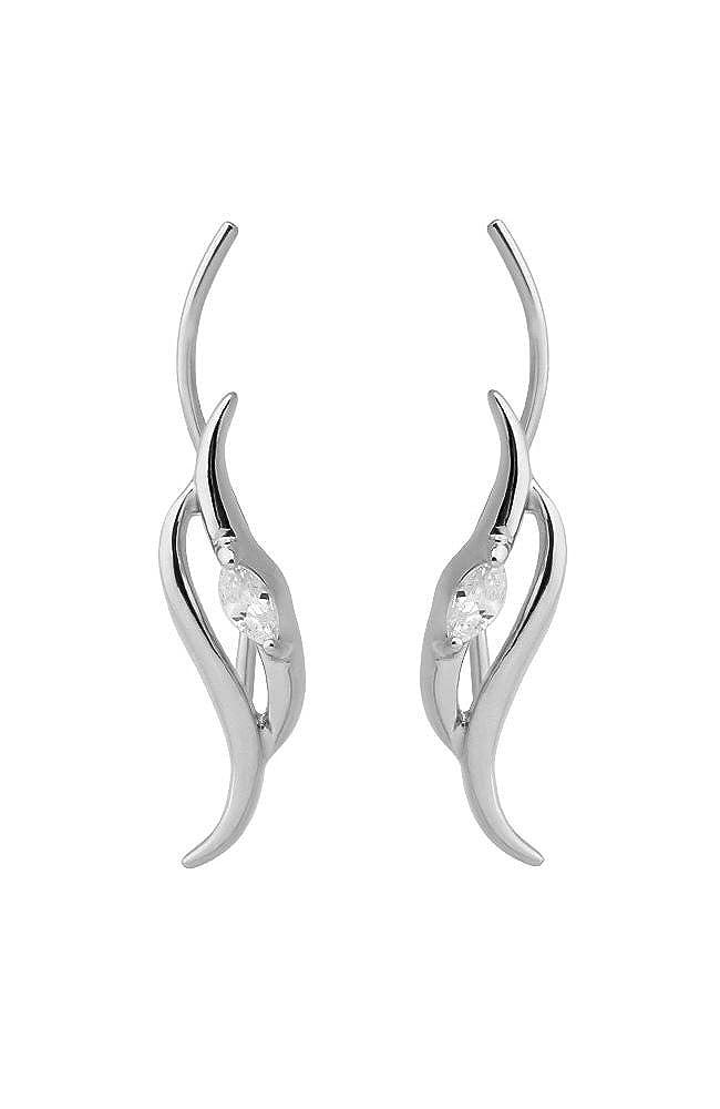 Silver-Tone Dangle Ear Vine Earrings Climber Crawler Pin Wire Stem Clear Stone 20G