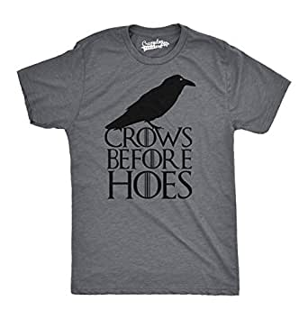 Mens Crows Before Hoes Funny T Shirt Funny Sarcastic TV Show Tee For Guys (Grey) - S