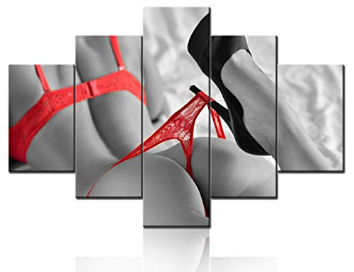 Naked Body Pictures Beauty Brunette Woman Paintings Black and White Canvas Prints Red High Heels Shoes Wall Art Sexy Poster Pictures Modern Artwork for Living Room Framed Ready to Hang(60''Wx40''H)