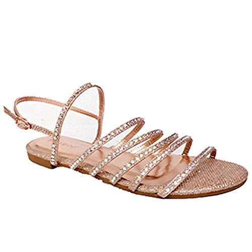 d3bdbf444edf hot sale 2017 Bamboo Women s Strappy Rhinestones Thong Ankle Strap Sandals