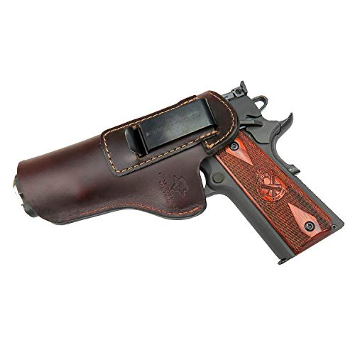Relentless Tactical The Defender Leather IWB Holster - Fits Most 1911 Style Handguns - Kimber - Colt - S & W - Sig Sauer - Remington - Ruger & More - Made in USA - Brown Left Handed
