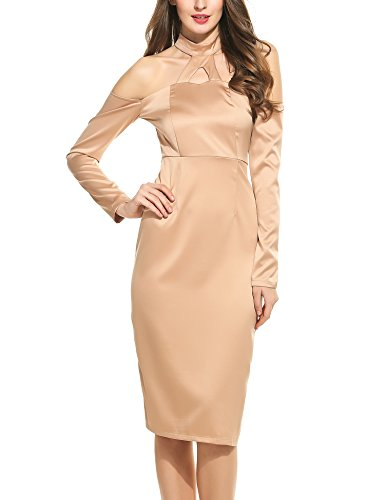 Zeagoo Women's Off Shoulder Long Sleeve Bodycon Bandage Party Dress with Back Zipper Apricot,Large (Singer Small Form Dress)