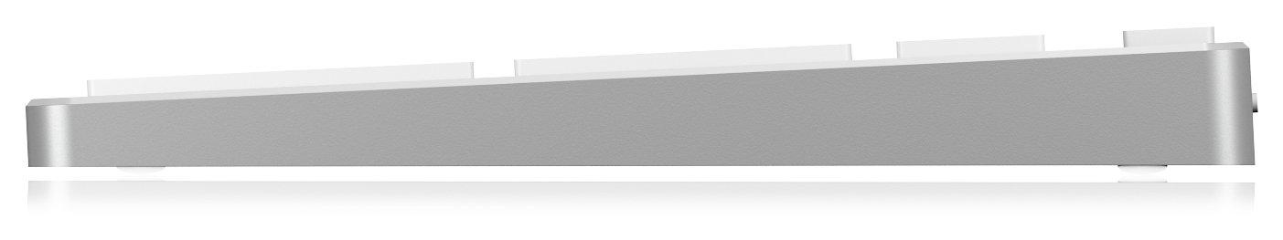 Android Keysonic Wireless Bluetooth Tastatur aus Aluminium f/ür Mac Silber//Wei/ß Multi-Channel Tablet und PC Akku Windows